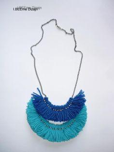#ibeemedesign #handmade #woolnecklaces Tassel Necklace, Turquoise Necklace, Necklaces, Tassels, Wool, Handmade, Jewelry, Fashion, Jewellery Making