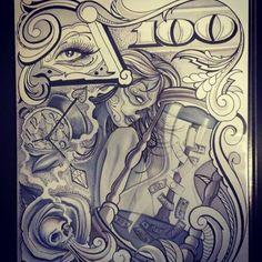 chicano tattoo flash art 3176