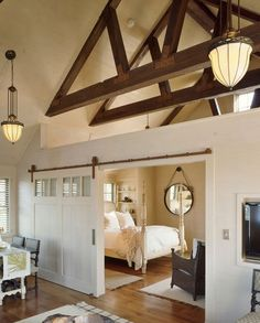 38 Unbelievable barn style bedroom design ideas Great idea for guest house Carriage House Apartments, Garage Apartments, Carriage House Garage, Metal Building Homes, Building A House, Building Ideas, Metal Homes, Building Plans, Barn Apartment