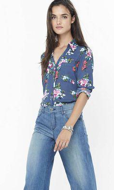 Floral Cluster Print Portofino Shirt | Express