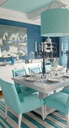 Turquoise Room Ideas - Well, just how regarding a touch of turquoise in your room? Establish your heart to see it due to the fact that this write-up will provide you turquoise room ideas. Table of Contents. Nautical Dining Rooms, Dining Room Blue, Dining Room Colors, Dining Room Design, Kitchen Colors, Dining Chairs, Kitchen Decor, Dining Decor, Kitchen Modern