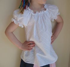 Threading My Way: Peasant Blouse using a pattern by Tie Dye Diva Peasant Blouse, Ruffle Blouse, Fancy Tops, Pdf Sewing Patterns, My Way, Off Shoulder Blouse, Needlework, Diva, Tie Dye