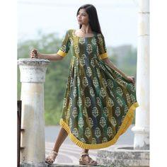 01a5aac219e Mehandi green cotton printed kurti