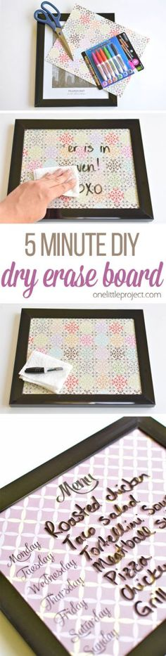 These DIY whiteboards are ridiculously easy to make. It takes less than five dollars and five minutes for each one! Such a pretty and EASY little project!