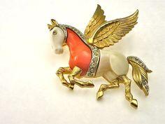 Rare Vintage Signed Kramer Figural Pegasus Brooch... available in our shop on Ruby Lane.