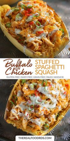 """""""Turn plain old spaghetti squash into a keto meal with the addition of bacon, mushrooms, spinach, and blue cheese. I like to double the blue cheese, especially when using a milder variety. Paleo Recipes, Real Food Recipes, Low Carb Recipes, Chicken Recipes, Cooking Recipes, Yummy Food, Paleo Food, Pollo Buffalo, Courge Spaghetti"""