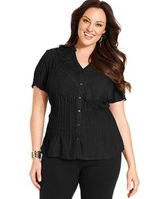 NY Collection Plus Size Top, Short-Sleeve Pintucked Blouse - Plus Size Tops - Plus Sizes - Macy's