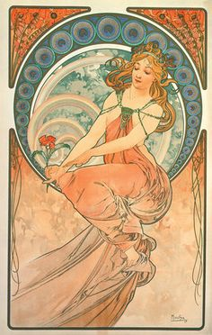 """Mucha, Alphonse Marie -- """"The Arts: Painting, 1898 """" -- High quality art prints, canvases, postcards -- Mucha Foundation Prints"""