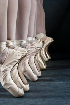 Pointe shoes that bend just right <3 Takes a lot of hard work, and bloody,broken toes to get that bend in the point shoe!!