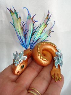 OOAK Fairy Handcrafted Polymer Clay Art Sculpt Water Dragon. $30.00, via Etsy.