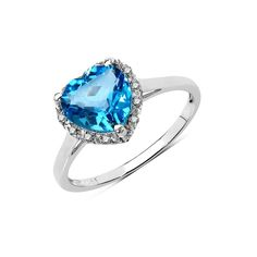 Olivia Leone 10k White Gold 2 1/6ct Swiss Blue Topaz and Diamond Accent Ring (Size-6, Blue), Women's, Size: 6