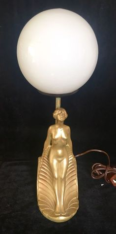 Vintage Art Deco Knelling Lady Lamp Light Globe Shade Light