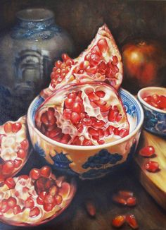 Gatya Kelly - Pomegranate Dream - oil on canvas 90 x - pomegranate still life oil painting Pomegranate Art, Still Life Fruit, Still Life Oil Painting, Food Painting, Art Themes, Fruit Art, Fruit And Veg, Art Sketchbook, Artist At Work