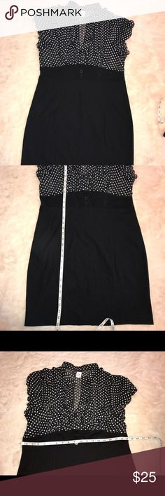 NWOT dot secretary retro pinup dress plus size NWOT black & whitedot dress plus size 4x.58%poleyester 38%rayon 4% spandex.bottom part of the dress has some stretch to it. 2 front button detail, slit in the back. There are some light marks as shown in the pic I think it just rubbed on something so it'll prob go away when you wash it as this is a new item. slight thread imperfection in some area as shown in pic .All items come from smoke free home. 🐺Husky friendly environment. All items are…