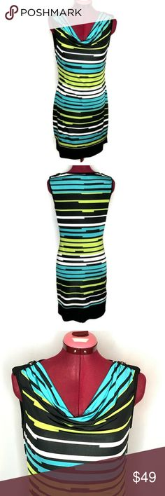 Joseph Ribkoff Dress 6 Blue Green Stripes Layered Joseph Ribkoff Women's Dress 6 Blue Green Stripes Layered Draped Neck Excellent Condition Measured While Laying in. Green Stripes, Blue Green, Joseph Ribkoff Dresses, Plus Fashion, Fashion Tips, Fashion Design, Fashion Trends, Outfits, Collection