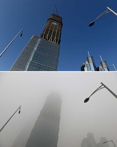 This combination image of two photographs taken on December 3, 2015 (top) and two days earlier on December 1 (bottom) shows a skyscraper under clear skies and in heavy pollution, as seen in the central business district in Beijing.