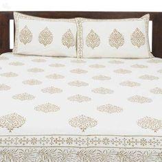 Buy Double Bed Sheet Set Betel Leaves Cream with Beige Block Print Online India | Zansaar Home Linen Store