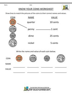 really simple, yet effective, worksheet to help teach you're grader how to recognize coins.A really simple, yet effective, worksheet to help teach you're grader how to recognize coins. Counting Money Worksheets, Money Activities, First Grade Worksheets, 1st Grade Math, Second Grade, Teaching Money, Teaching Math, Math Classroom, Kindergarten Math
