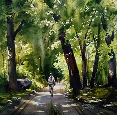 Untitled by Sunil Linus De, Impressionism Painting, Watercolor on Paper, Green color nice Watercolor Landscape Paintings, Watercolor Trees, Watercolor Artists, Watercolor Portraits, Abstract Landscape, Sketch Painting, Watercolor Drawing, Painting Art, Beautiful Paintings