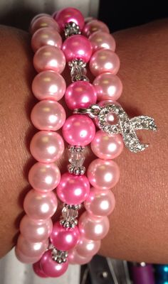 Pink Breast Cancer Bracelets with Faux Pearl & Swarovski Crystal  on Etsy, $20.00