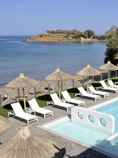 Ammos Hotel: Chania, #Crete, #Greece. View of Ornos beach from the hotel room.