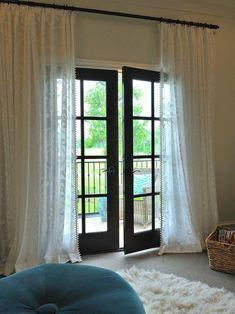 French door has distinctive design and detail. For you who love this door for your door curtains, French door, French door curtains Black French Doors, French Door Windows, French Door Curtains, French Doors Patio, Black Doors, Windows And Doors, Sheer Curtains, French Patio, Black Windows