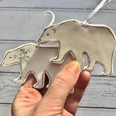 Ensemble de décorations de Noël ours polaire de 2 décorations
