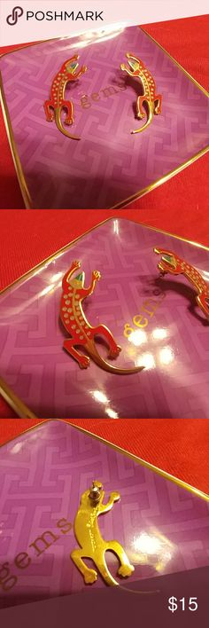 """FUN & Handmade Lizard Earrings Red Lizards 2"""" long Lightweight Posts on back Designer that was received as a gift Only worn a few times and they are statement pieces!!!!  Hand made!!  BUNDLE & SAVE!!! 💕 Shop my closet to SAVE on shipping! 10% off 2 items or more!!! Jewelry Earrings"""