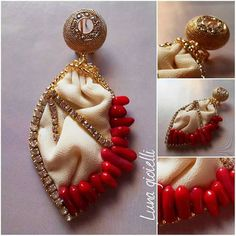 Luna gioielli ... Shibori silk earrings, crystals, coral, strass. Handmade in Italy. https://m.facebook.com/Lunagioielliserena