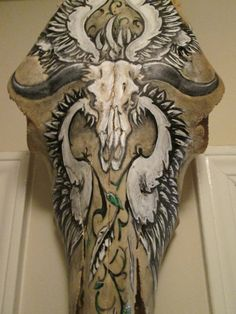 HandPainted Cow Skull with Skull and Wings Design by DabbleGallery, $160.00