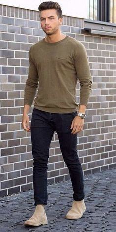 - with a simple summer outfit with a silver watch dusty green long sleeve pocket shirt dark wash denim tan suede chelsea boots Tan Suede Chelsea Boots, Chelsea Boots Outfit, Chelsea Boots For Men, Simple Summer Outfits, Casual Winter Outfits, Outfit Winter, Outfit Summer, Grunge Style, Soft Grunge