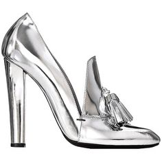 argento ---➽ argentum➽ασήμι➽silver➽plata➽Silber➽銀➽فضة➽серебро Silver Loafers, Metallic Loafers, Silver Heels, Metallic Pumps, Metallic Leather, Patent Leather, Alexander Wang, High Heel Loafers, High Heels