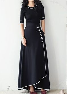 Button Embellished High Waist Piped Skirt | Rosewe.com - USD $33.17