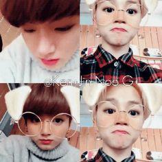 Jimin & Jungkook /// BTS /// look at these babies playing wiv the filter (♡●♡) xx Namjoon, Seokjin, Taehyung, Yoongi, Jungkook Cute, Bts Bangtan Boy, Bts Jimin, Jikook, Bts Memes
