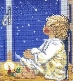 A lovely picture of a boy in a nightshirt looking out his bedroom window at the sky.