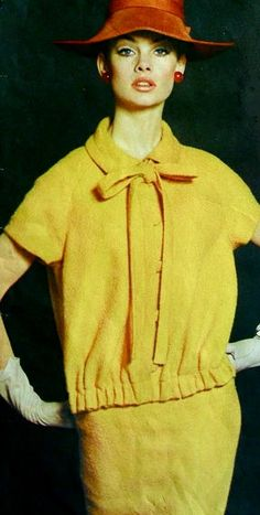 Sportswear office day dress suit outfit yellow skirt shirt early 60s supermodel print ad Jean Shrimpton wearing Lanvin Vogue pattern 1960's