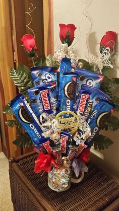Items similar to Oreo Cookie & Candy Bouquet Happy Birthday Candy Bouquet Cookie Bouquet Birthday Candy Birthday Bouquet on Etsy Birthday Basket, Cute Birthday Gift, Birthday Cup, Birthday Candy, Happy Birthday, Candy Bouquet Birthday, Birthday Cookies, Candy Bar Bouquet, Gift Bouquet