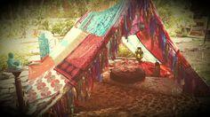 Boho tent teepee Bohemian Meditation silk hippy scarves Gypsy hippie patchwork canopy Glamping Decor MADE TO ORDER Bohemian festival garden
