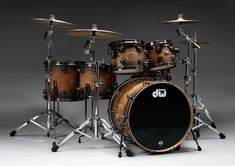 Limited Edition 40th Anniversary Kit - Metallic Pewter to Natural Lacquer Burst over Exotic Tamo Ash with Pewter Hardware Drum Kits, Sound Of Music, 40th Anniversary, Drummer T Shirts, Drummer Boy, Drummers, Best Drums, How To Play Drums, Future Band