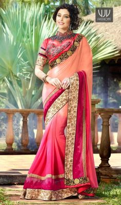Customary Pink Color Patch Border Work Designer Saree This pretty piece is a fairy tale that begins to unfold as you reveal your beauty in it. Get the simplicity and grace with this peach and hot pink georgette designer saree. This attire is encrafted with embroidered, patch border and zari work.