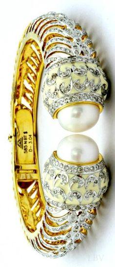 Pearl Diamond Bangle   LBV ♥✤ by barbra