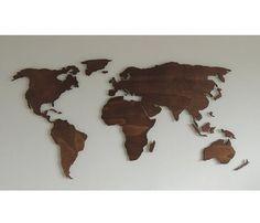 3D houten wereldkaart XL zwevend op de muur