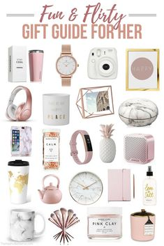 Fun and flirty gift guide for her. Perfect for any woman in your life – sister, … Fun and flirty gift guide for her. Perfect for any woman in your life – sister, friend or even mom! Gift ideas for Christmas, birthdays and more. Christmas Gifts For Teen Girls, Tween Girl Gifts, Birthday Gifts For Teens, Diy Birthday, Holiday Gifts, Christmas Diy, Gifts For Teenage Girls, Teen Gifts, Christmas Ideas For Girlfriend