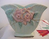 Vintage McCoy Aqua Flower Holder  1950