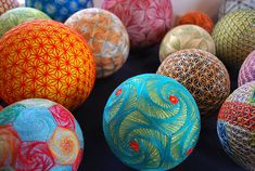 "tsmskimonodrome: ""Asylum-Art : ""A Huge Collection of Embroidered silk Spheres by grandmother in Japan. THESE Intricate and Extraordinarily beautiful Embroidered Silk balls Are a form of. Kintsugi, Broderie Bargello, Sculpture Textile, Textile Art, Ancient Japanese Art, Ancient Art, 404 Pages, In China, Japanese Embroidery"