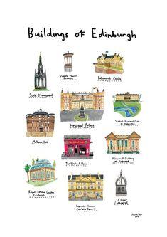 Items similar to Buildings of Edinburgh on Etsy Rosslyn Chapel, Holyrood Palace, Scotland Map, Celtic Nations, Maps For Kids, Free Maps, Edinburgh Castle, Bubble Wrap Envelopes, Travel Inspiration