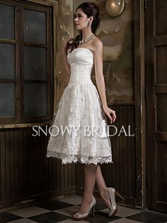 Summer Princess Short Lace Tulle Strapless Dropped Wedding Dress - US$148.99 - Style W0261 - Snowy Bridal