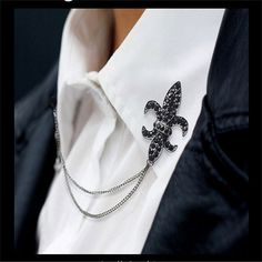 New Arrival Men Brooch Full Crystal Rhinestone Chain Tassel Pin Broches Collar Badge Brooches Shirt Suit Fine Jewelry Wholesale