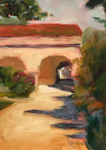 Mission Portico, 7x5,Original Oil Painting by Mandy Main