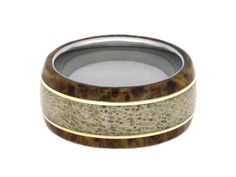 Deer Antler Wedding Band Wooden Ring With Bronze Pinstripes